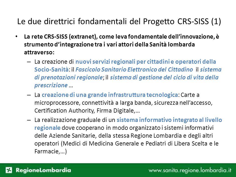 Le due direttrici fondamentali del Progetto CRS-SISS (1)