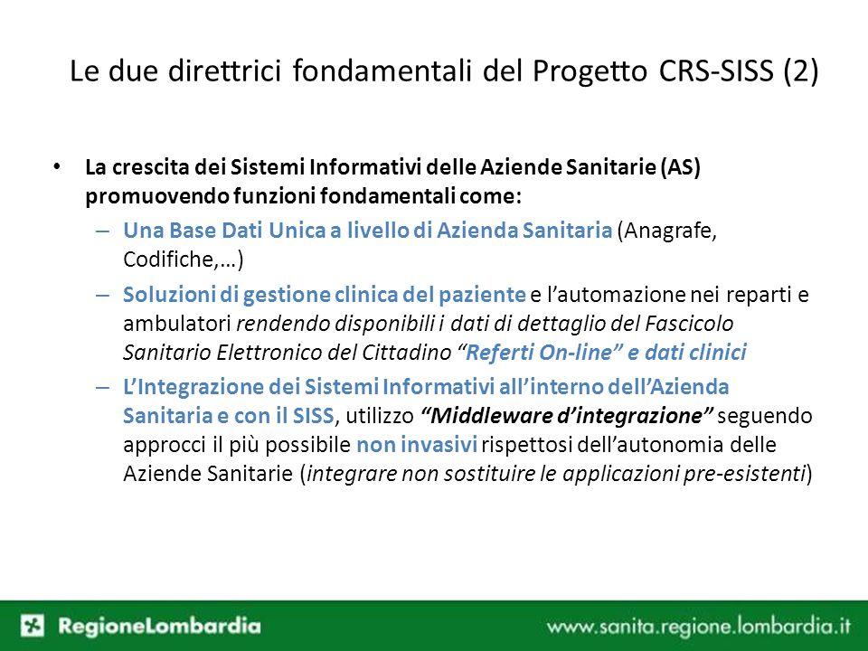 Le due direttrici fondamentali del Progetto CRS-SISS (2)