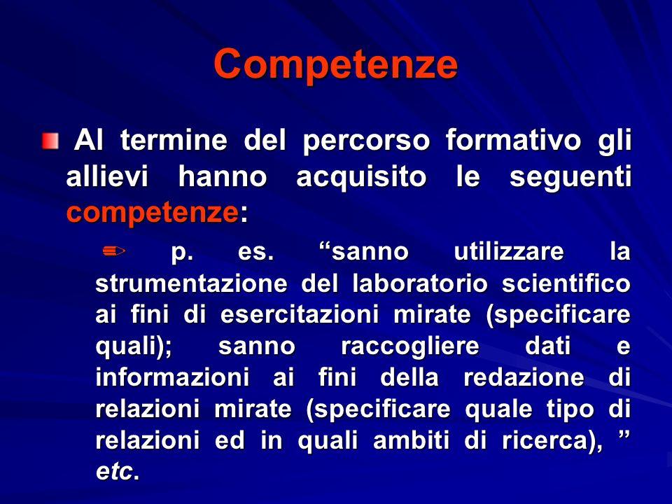 Competenze Al termine del percorso formativo gli allievi hanno acquisito le seguenti competenze:
