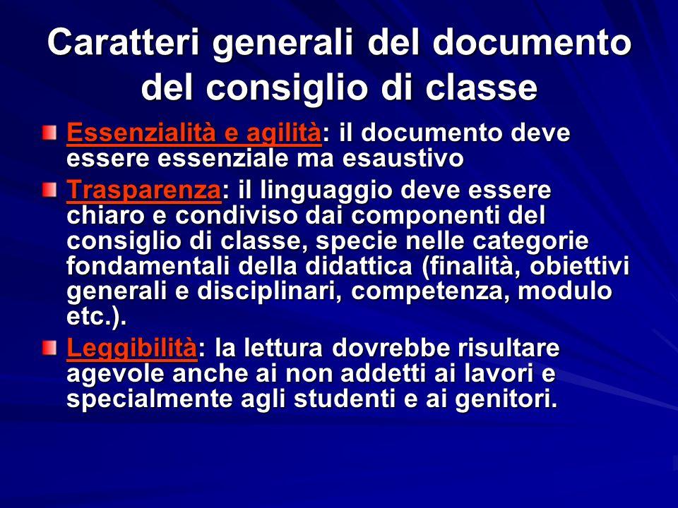 Caratteri generali del documento del consiglio di classe