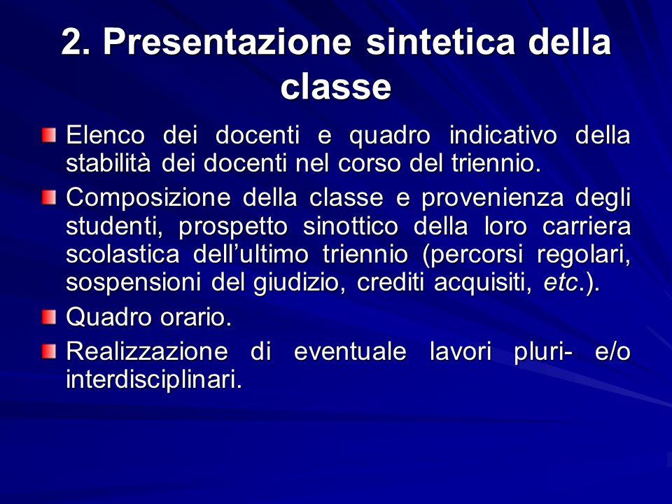 2. Presentazione sintetica della classe