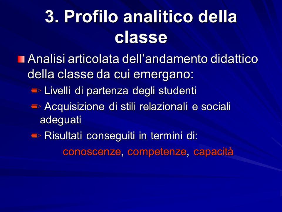 3. Profilo analitico della classe