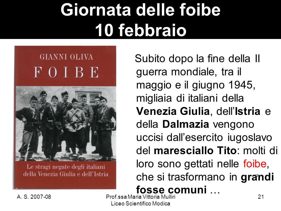 Giornata delle foibe 10 febbraio