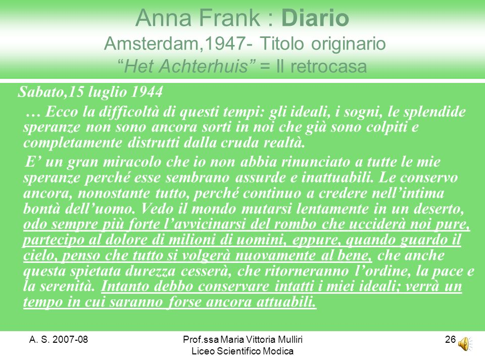 Prof.ssa Maria Vittoria Mulliri Liceo Scientifico Modica