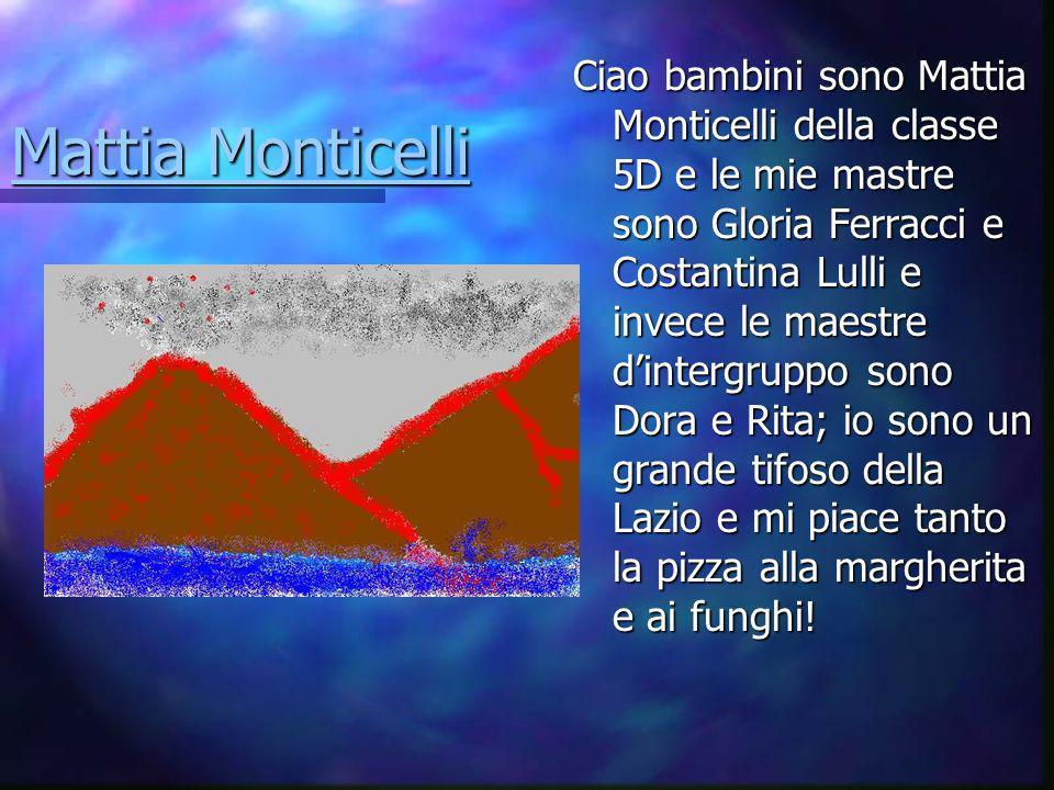 Ciao bambini sono Mattia Monticelli della classe 5D e le mie mastre sono Gloria Ferracci e Costantina Lulli e invece le maestre d'intergruppo sono Dora e Rita; io sono un grande tifoso della Lazio e mi piace tanto la pizza alla margherita e ai funghi!