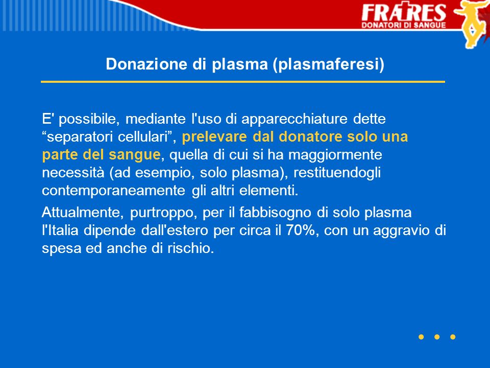 Donazione di plasma (plasmaferesi)