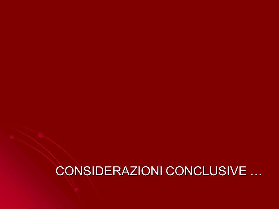 CONSIDERAZIONI CONCLUSIVE …