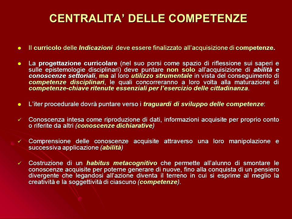 CENTRALITA' DELLE COMPETENZE