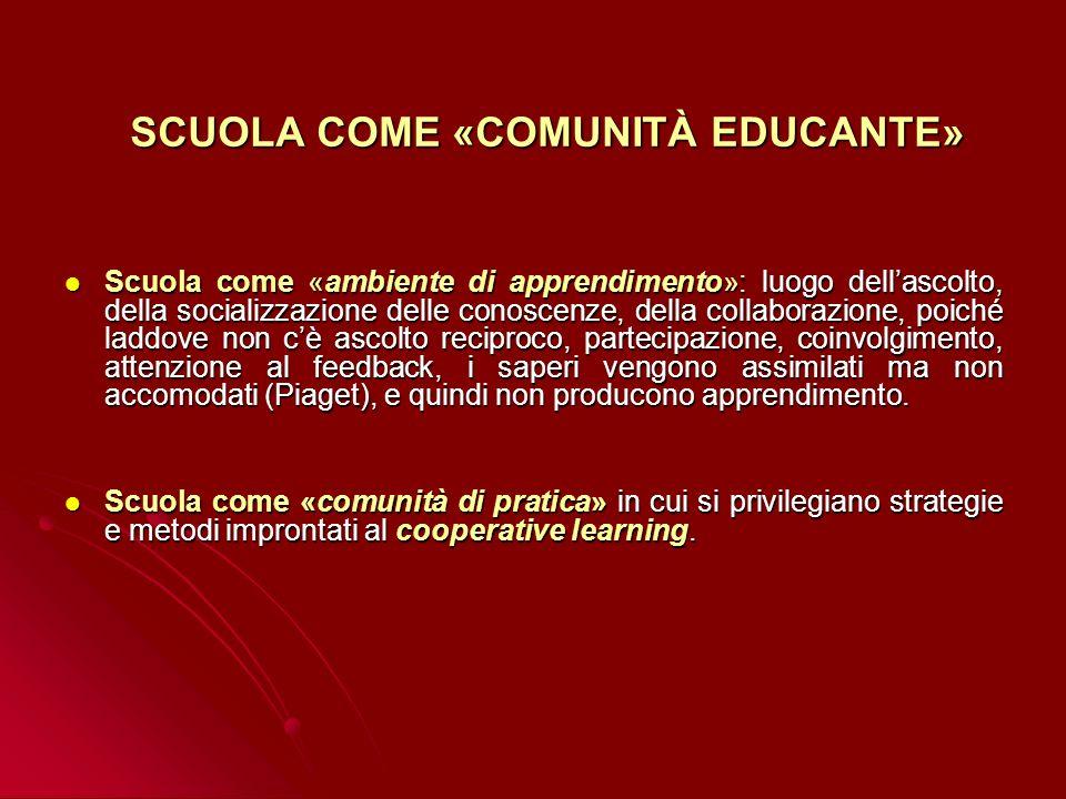 SCUOLA COME «COMUNITÀ EDUCANTE»