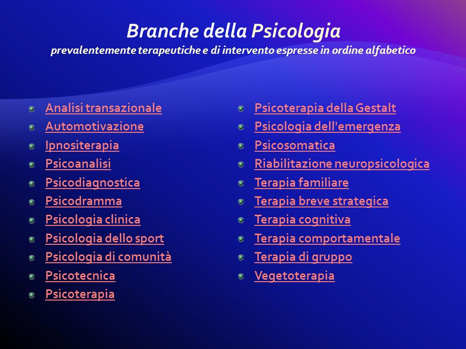 Branche della Psicologia prevalentemente terapeutiche e di intervento espresse in ordine alfabetico