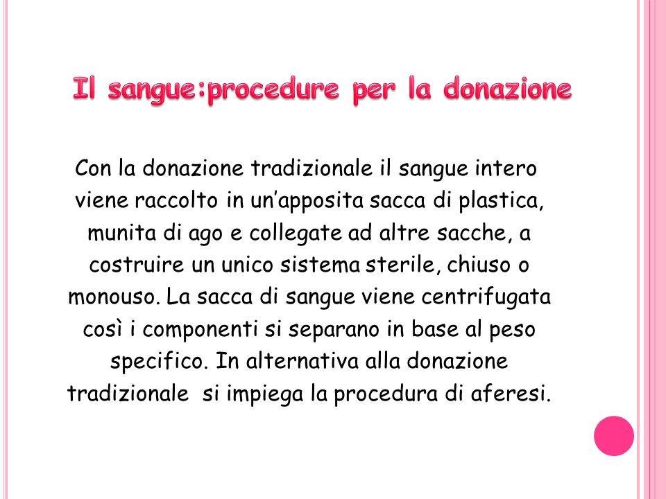 Il sangue:procedure per la donazione