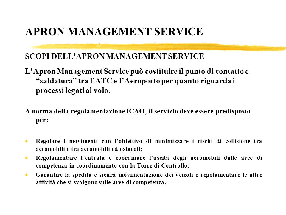 APRON MANAGEMENT SERVICE SCOPI DELL'APRON MANAGEMENT SERVICE