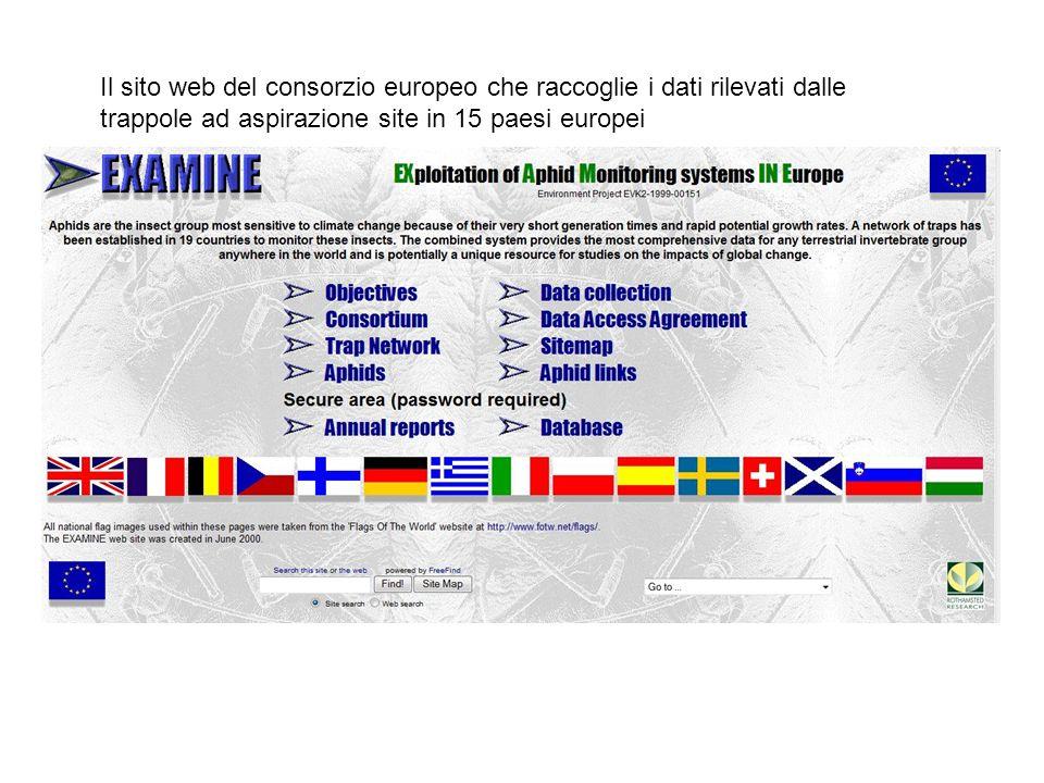 Il sito web del consorzio europeo che raccoglie i dati rilevati dalle trappole ad aspirazione site in 15 paesi europei
