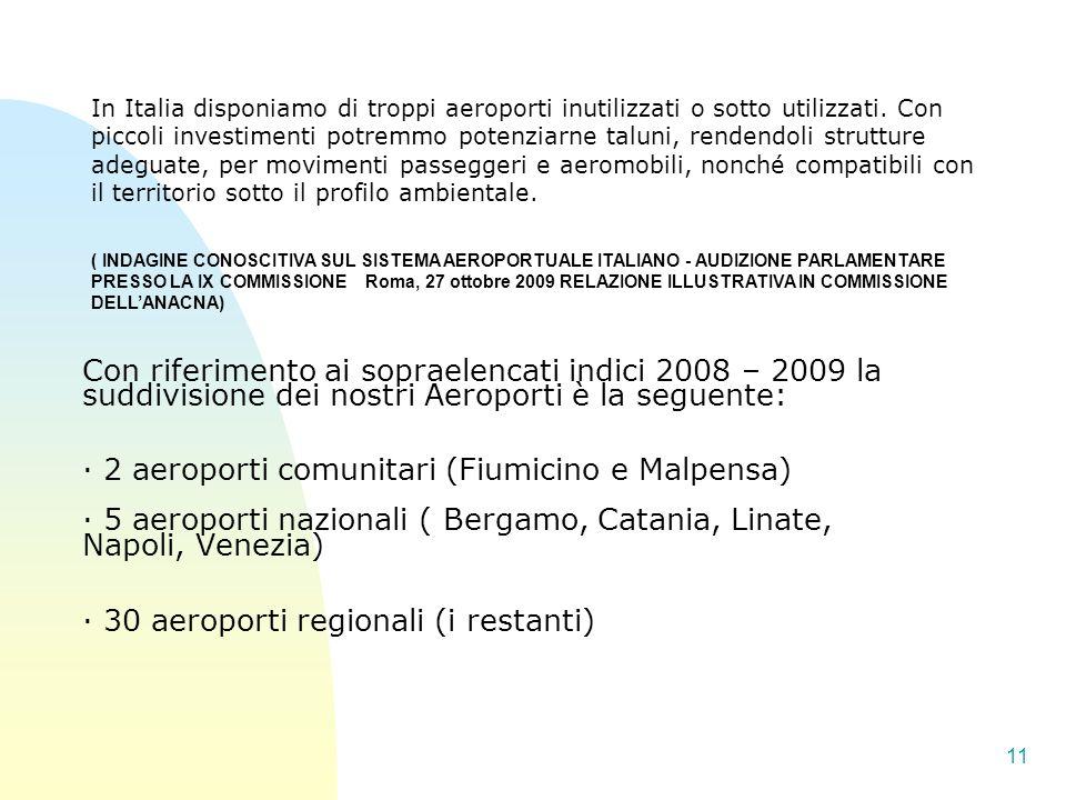 In Italia disponiamo di troppi aeroporti inutilizzati o sotto utilizzati. Con piccoli investimenti potremmo potenziarne taluni, rendendoli strutture adeguate, per movimenti passeggeri e aeromobili, nonché compatibili con il territorio sotto il profilo ambientale.