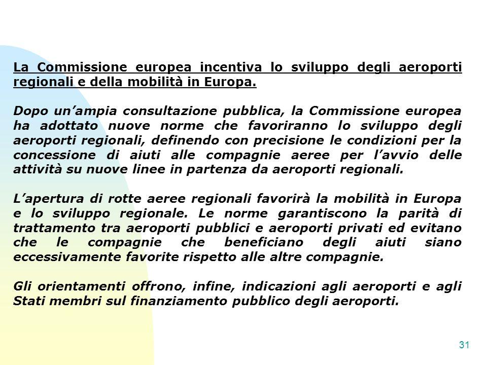 La Commissione europea incentiva lo sviluppo degli aeroporti regionali e della mobilità in Europa.