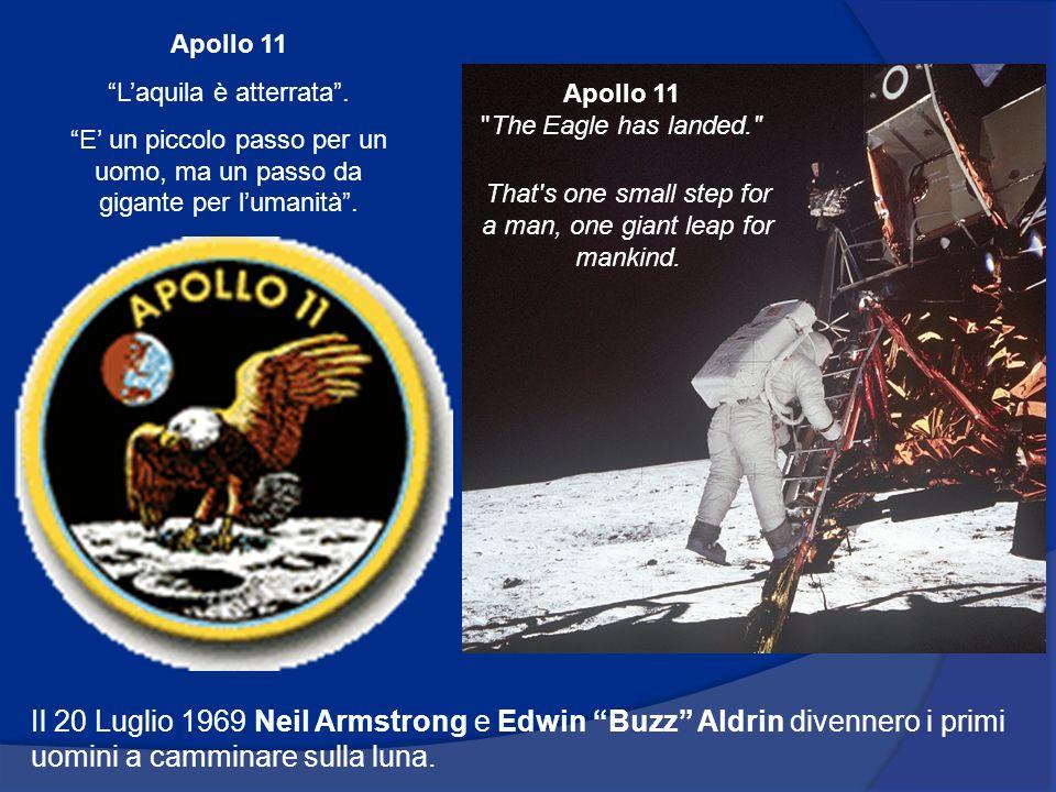Apollo 11 L'aquila è atterrata . E' un piccolo passo per un uomo, ma un passo da gigante per l'umanità .