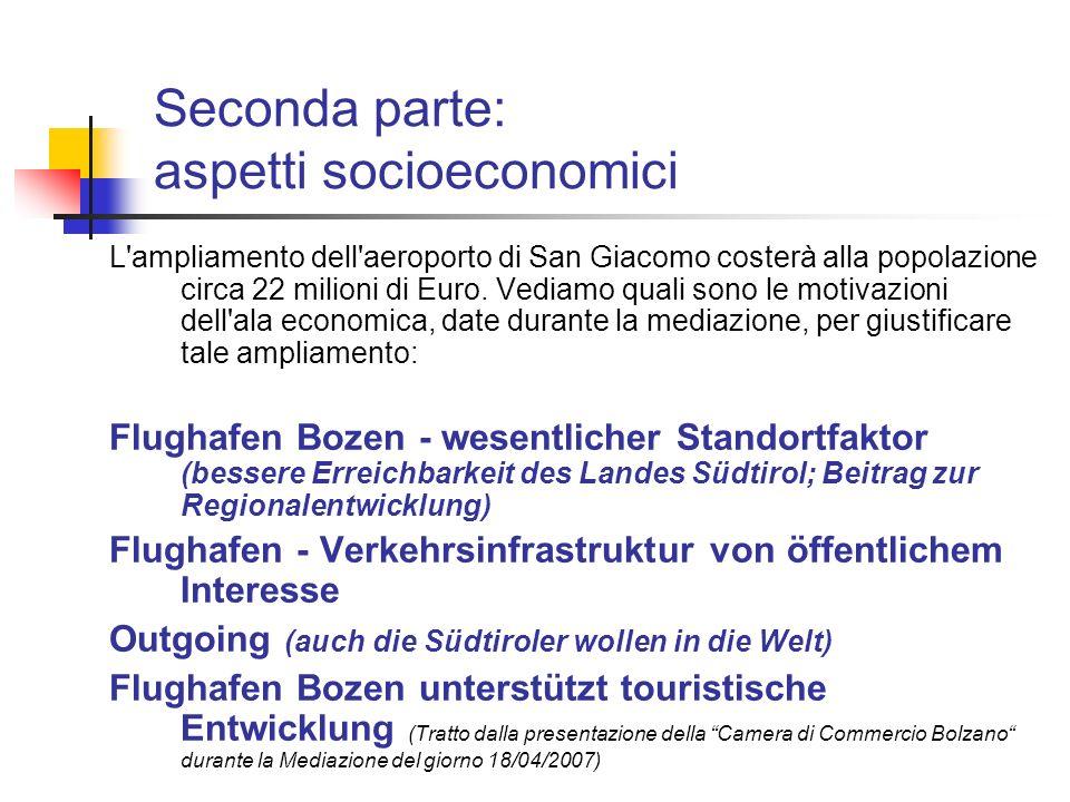Seconda parte: aspetti socioeconomici
