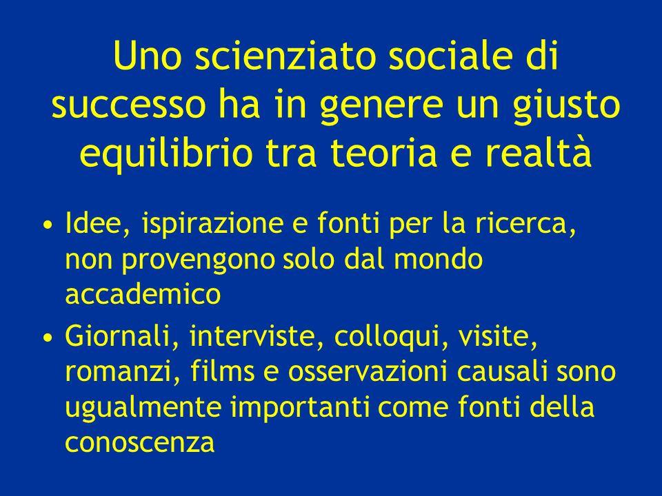 Uno scienziato sociale di successo ha in genere un giusto equilibrio tra teoria e realtà