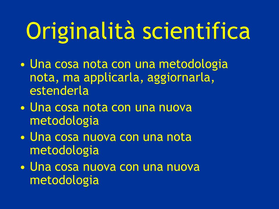 Originalità scientifica