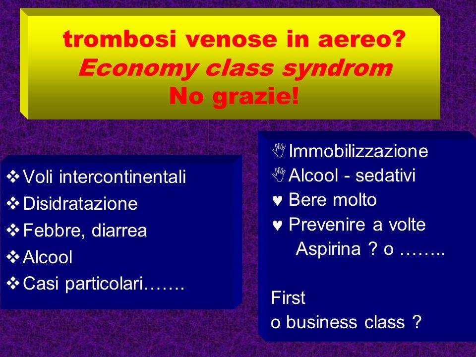 trombosi venose in aereo Economy class syndrom No grazie!