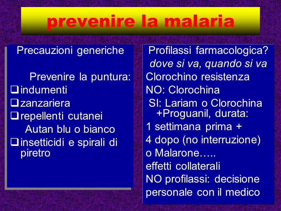 prevenire la malaria Precauzioni generiche Prevenire la puntura: