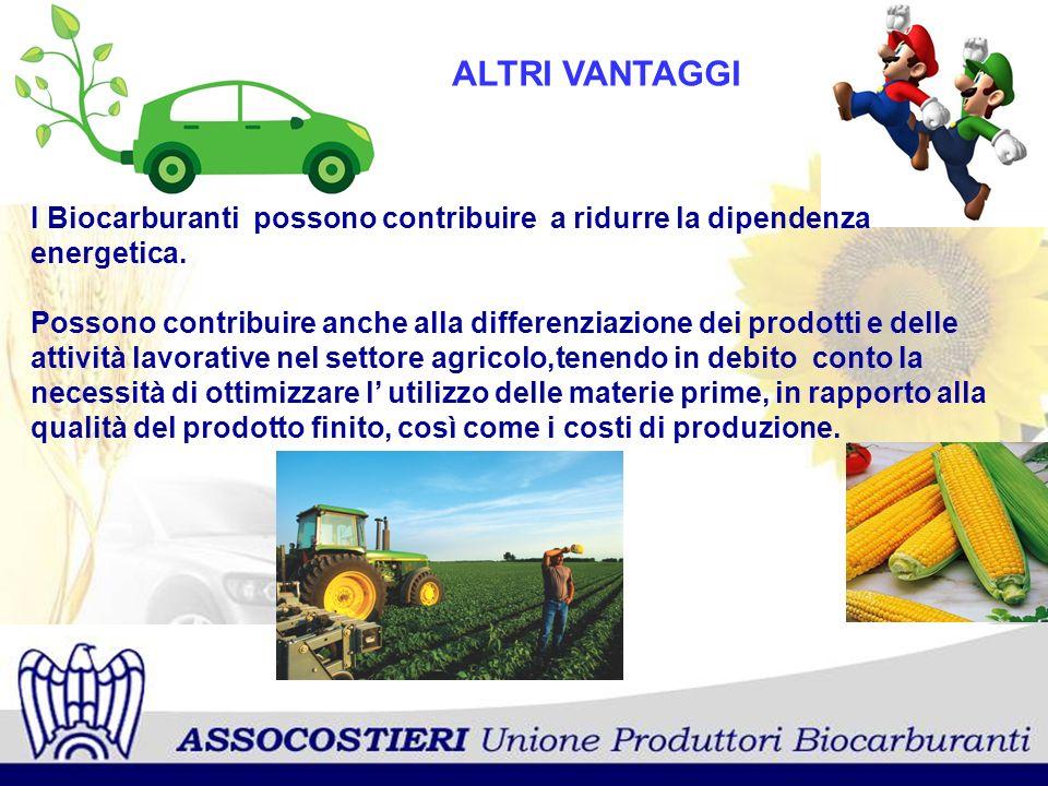 ALTRI VANTAGGI I Biocarburanti possono contribuire a ridurre la dipendenza energetica.