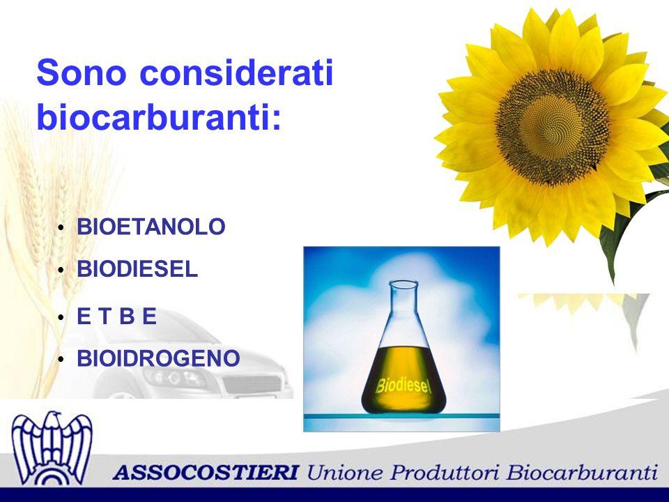 Sono considerati biocarburanti: BIOETANOLO BIODIESEL E T B E