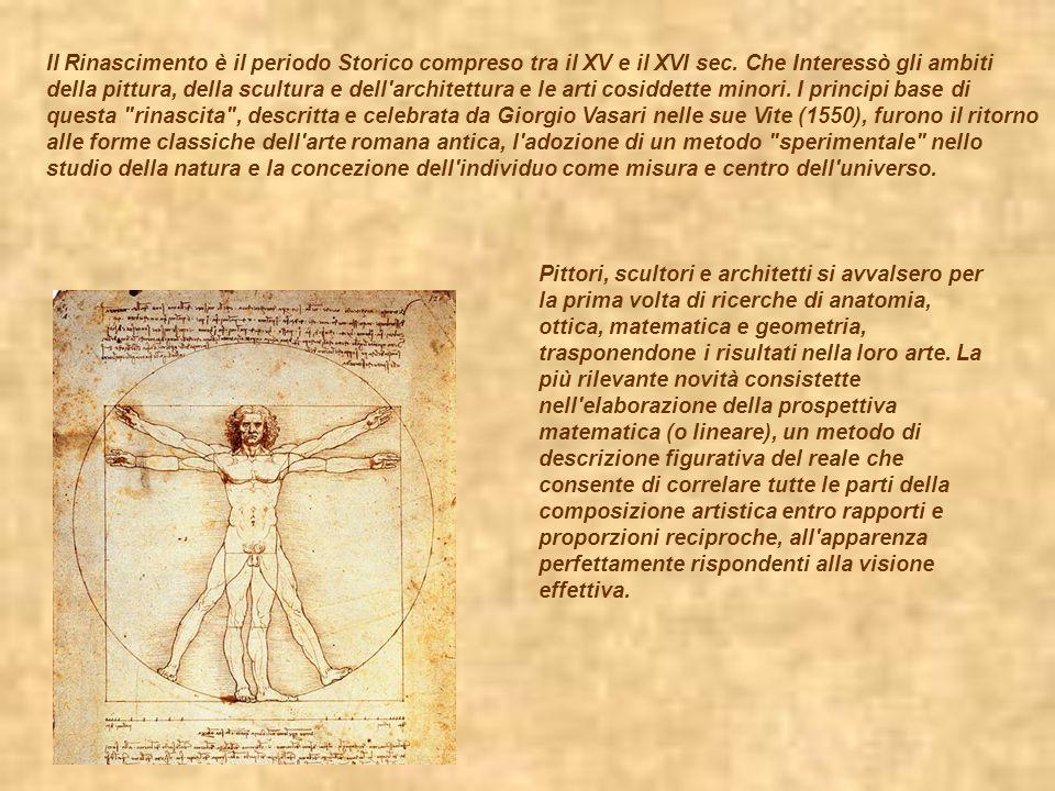 Il Rinascimento è il periodo Storico compreso tra il XV e il XVI sec