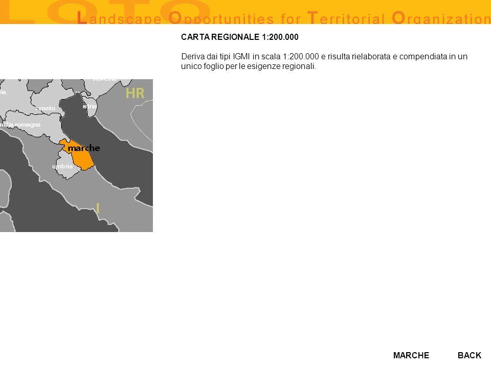 CARTA REGIONALE 1:200.000 Deriva dai tipi IGMI in scala 1:200.000 e risulta rielaborata e compendiata in un unico foglio per le esigenze regionali.