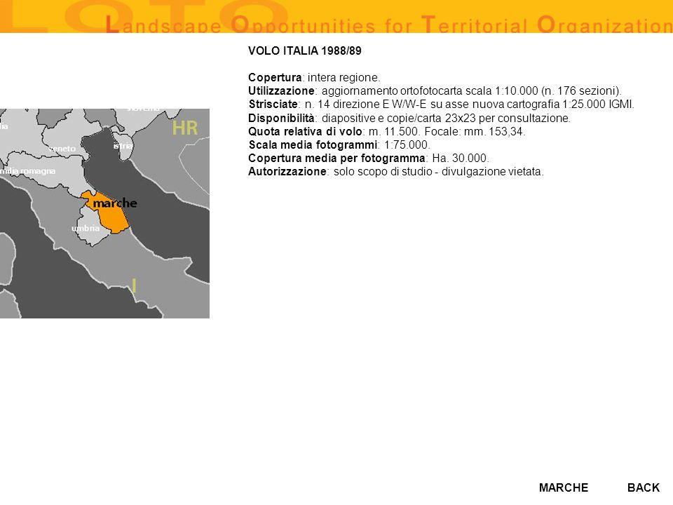 VOLO ITALIA 1988/89 Copertura: intera regione
