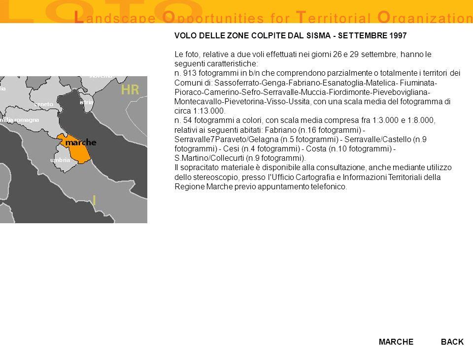 VOLO DELLE ZONE COLPITE DAL SISMA - SETTEMBRE 1997