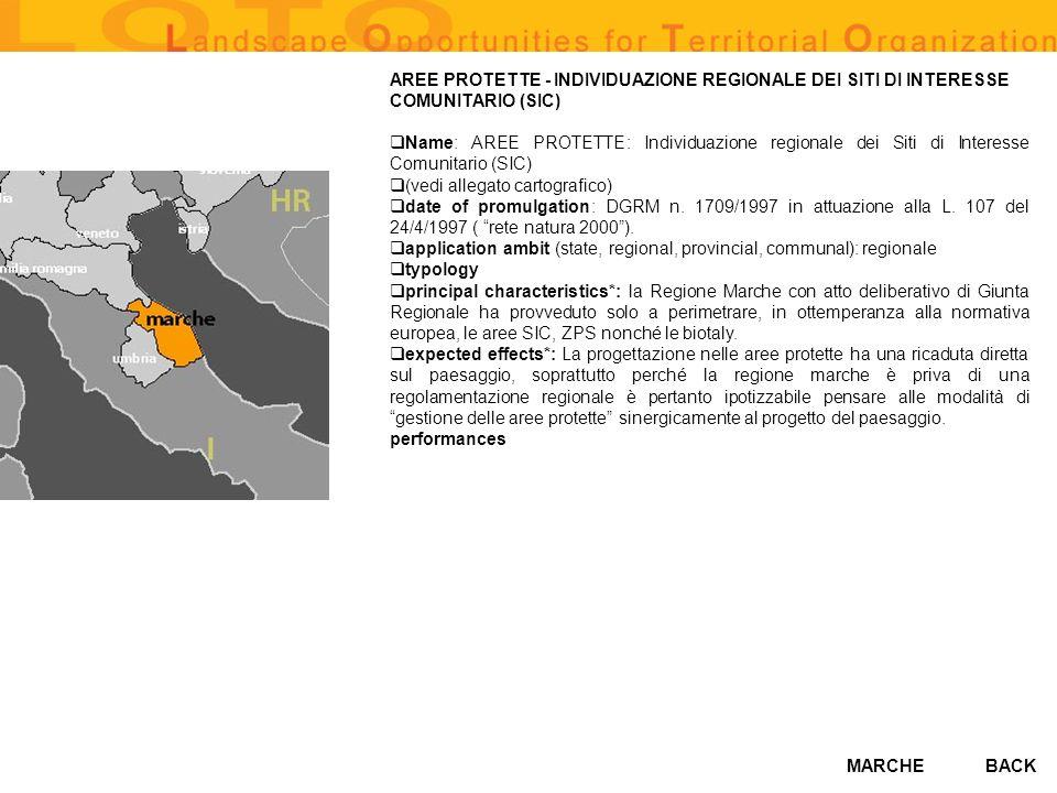 AREE PROTETTE - INDIVIDUAZIONE REGIONALE DEI SITI DI INTERESSE COMUNITARIO (SIC)