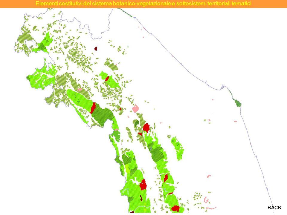 Elementi costitutivi del sistema botanico-vegetazionale e sottosistemi territoriali tematici