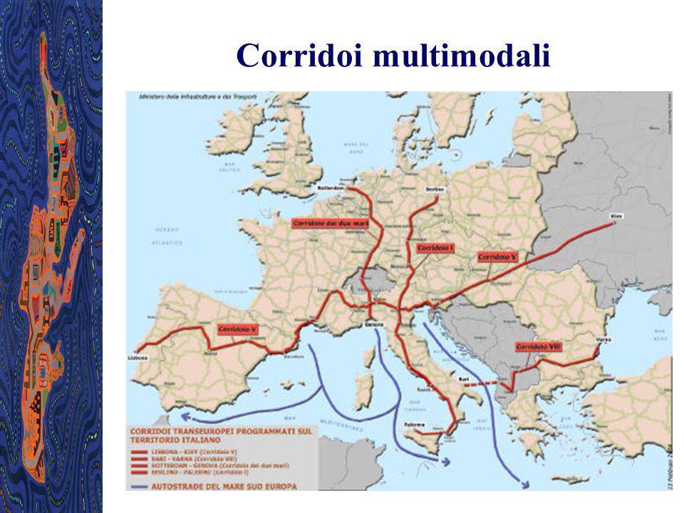 Corridoi multimodali La Commissione Europea ha identificato dieci Corridoi multimodali e 4 interessano l Italia: