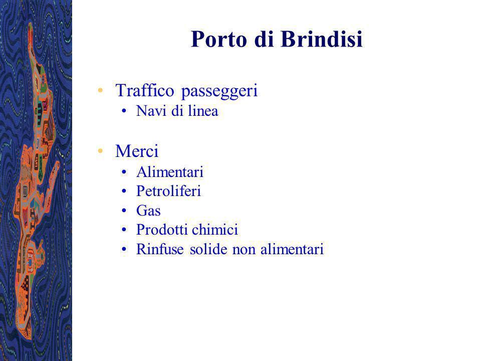 Porto di Brindisi Traffico passeggeri Merci Navi di linea Alimentari