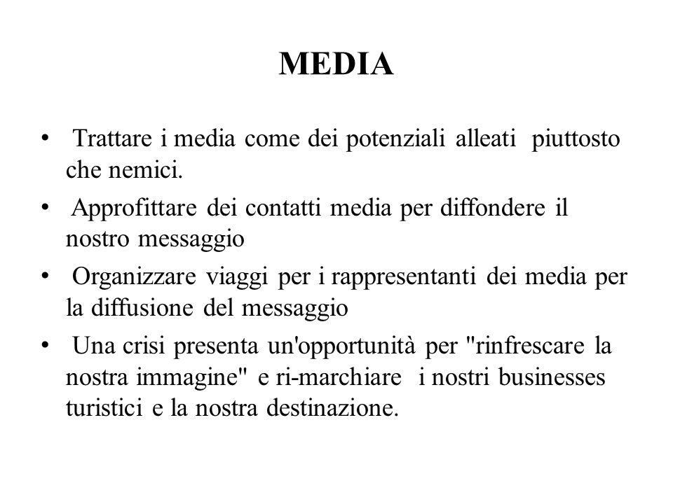 MEDIA Trattare i media come dei potenziali alleati piuttosto che nemici. Approfittare dei contatti media per diffondere il nostro messaggio.
