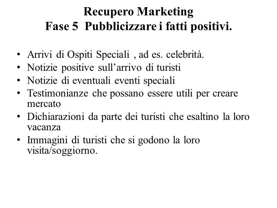 Recupero Marketing Fase 5 Pubblicizzare i fatti positivi.