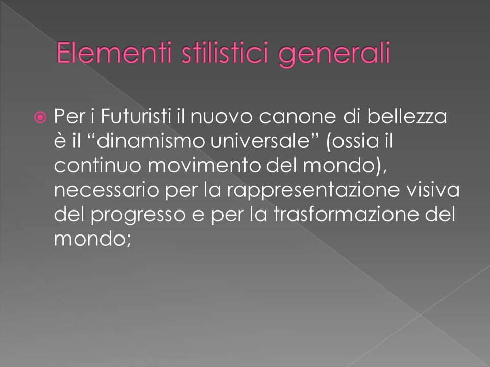 Elementi stilistici generali
