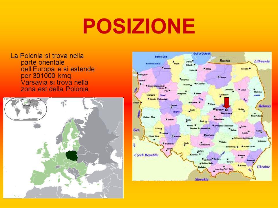 POSIZIONE La Polonia si trova nella parte orientale dell'Europa e si estende per 301000 kmq.
