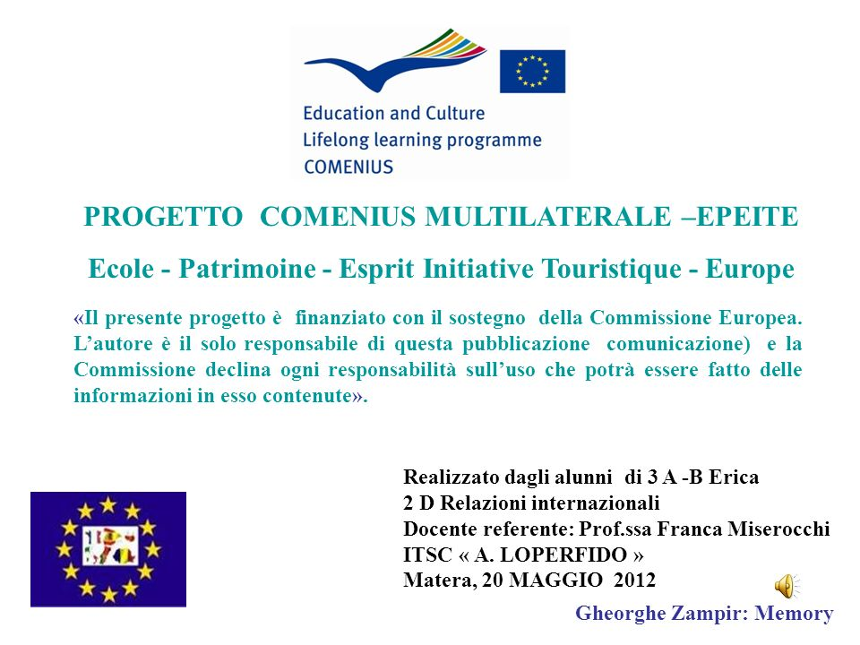 PROGETTO COMENIUS MULTILATERALE –EPEITE