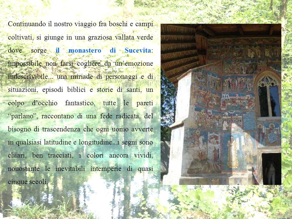 Continuando il nostro viaggio fra boschi e campi coltivati, si giunge in una graziosa vallata verde dove sorge il monastero di Sucevita: impossibile non farsi cogliere da un'emozione indescrivibile...