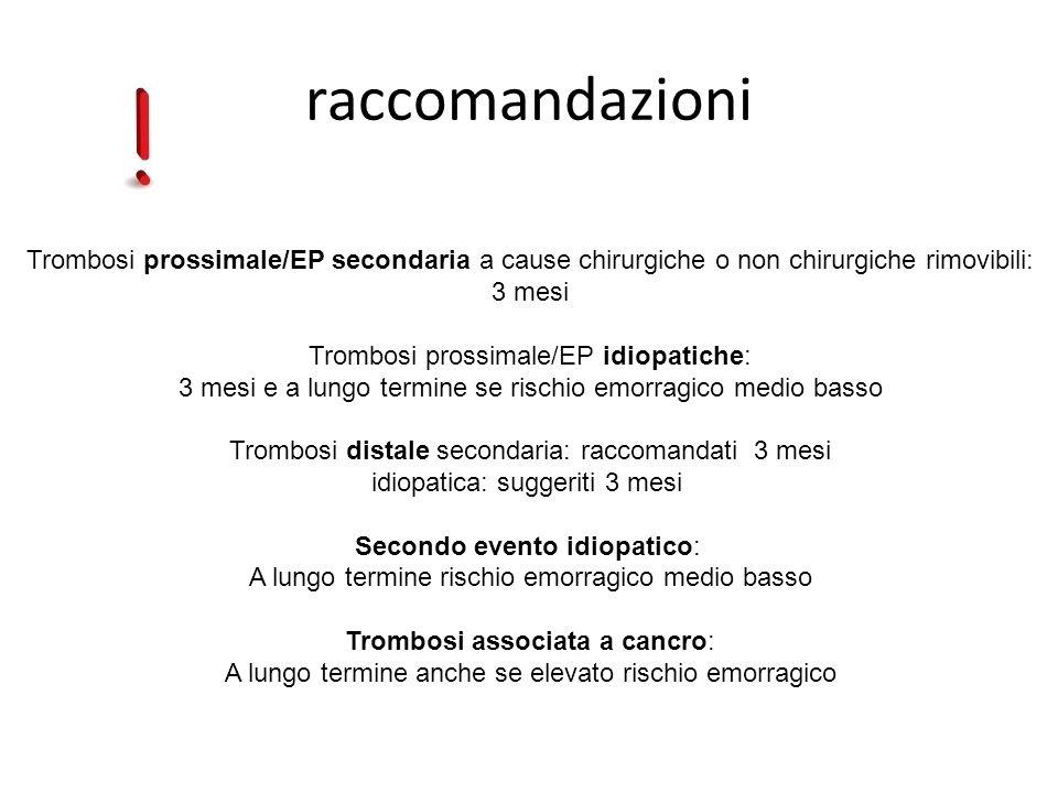 raccomandazioni Trombosi prossimale/EP secondaria a cause chirurgiche o non chirurgiche rimovibili:
