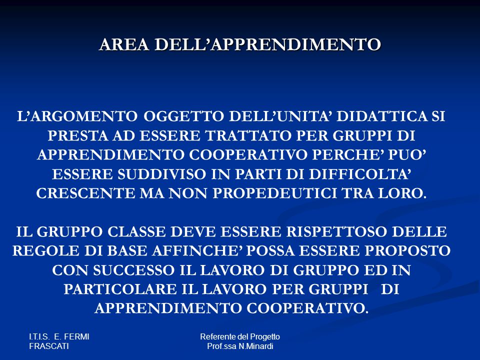 AREA DELL'APPRENDIMENTO
