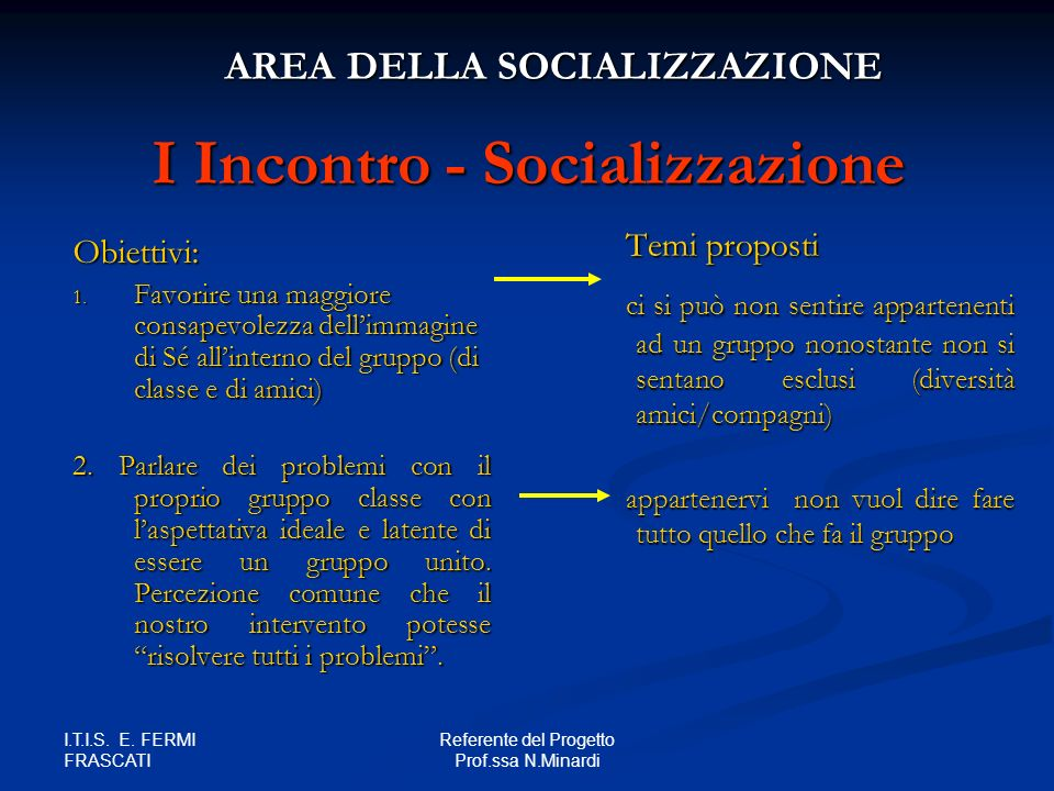 I Incontro - Socializzazione