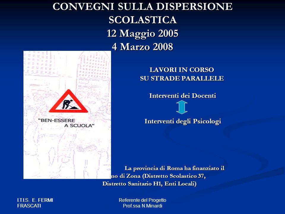 CONVEGNI SULLA DISPERSIONE SCOLASTICA 12 Maggio 2005 4 Marzo 2008