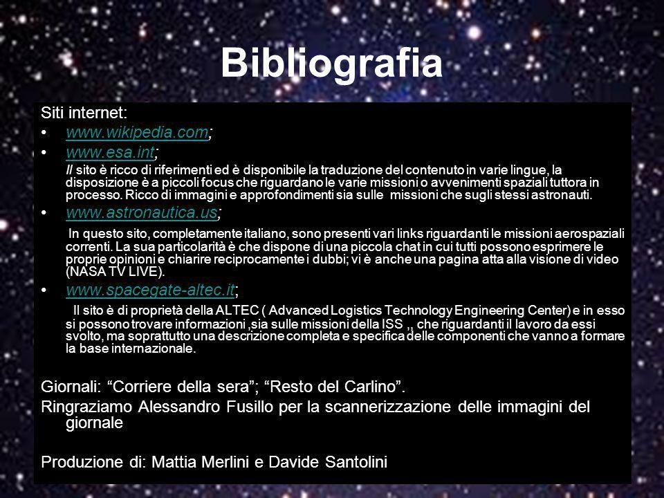 Bibliografia Siti internet: www.wikipedia.com; www.esa.int;
