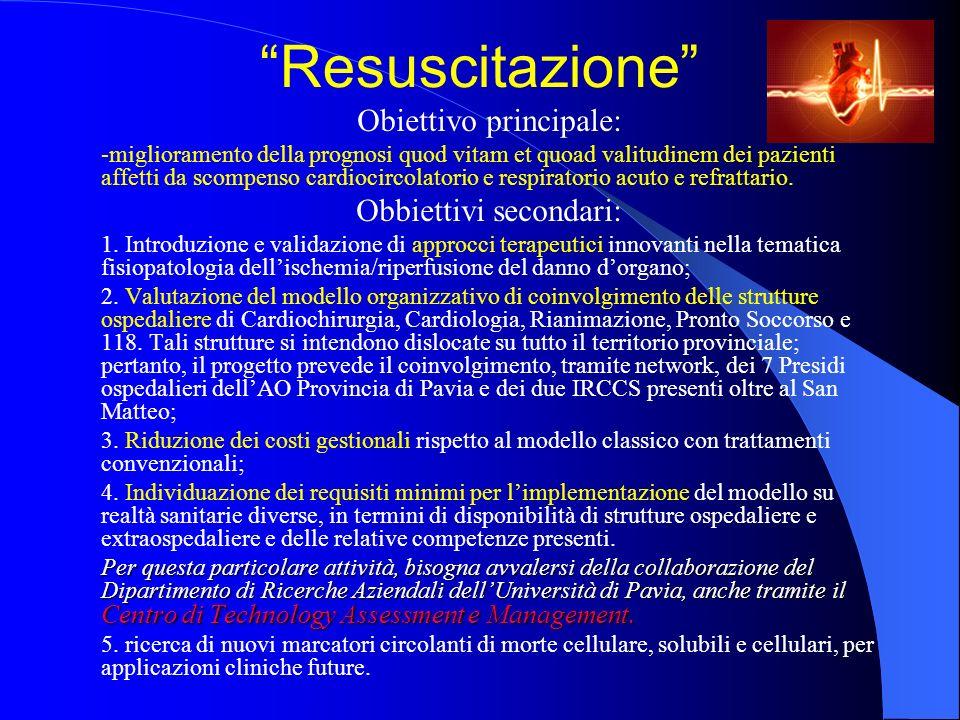 Resuscitazione Obiettivo principale: Obbiettivi secondari: