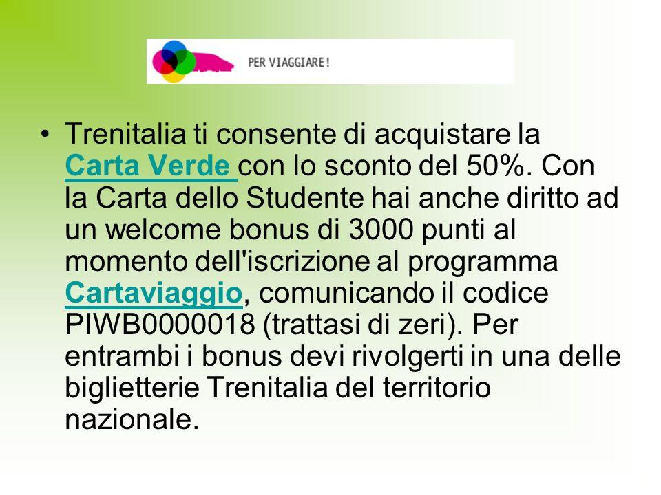 Trenitalia ti consente di acquistare la Carta Verde con lo sconto del 50%.