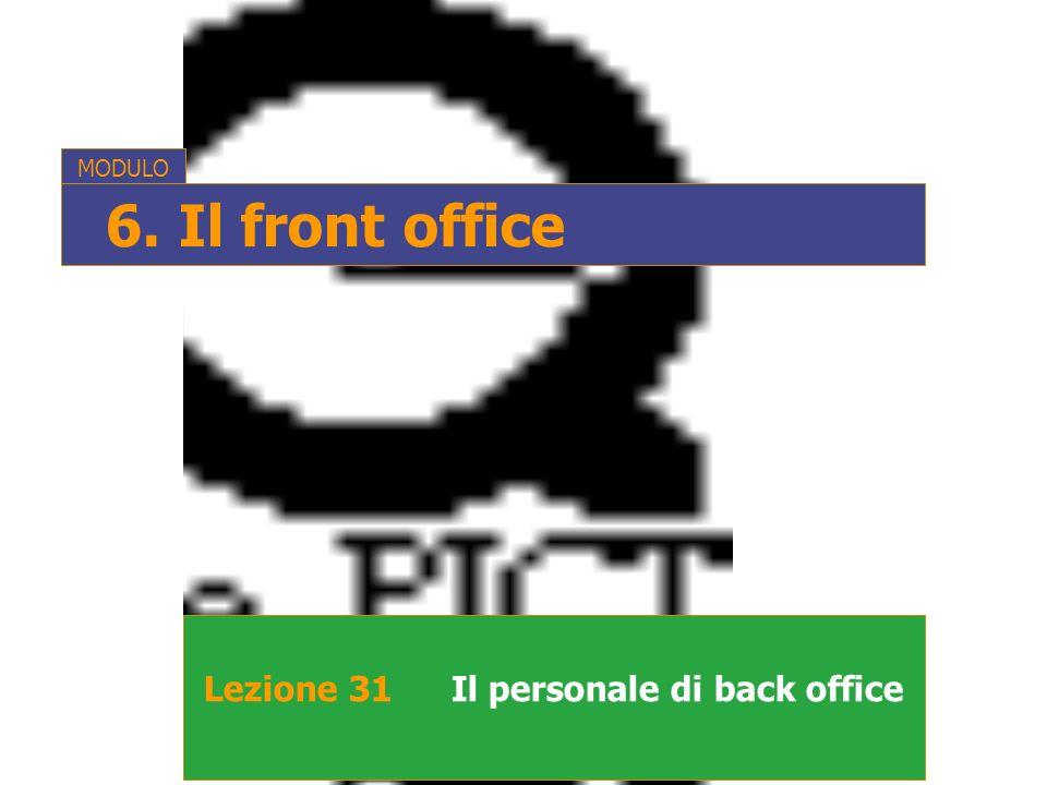 MODULO 6. Il front office Lezione 31 Il personale di back office