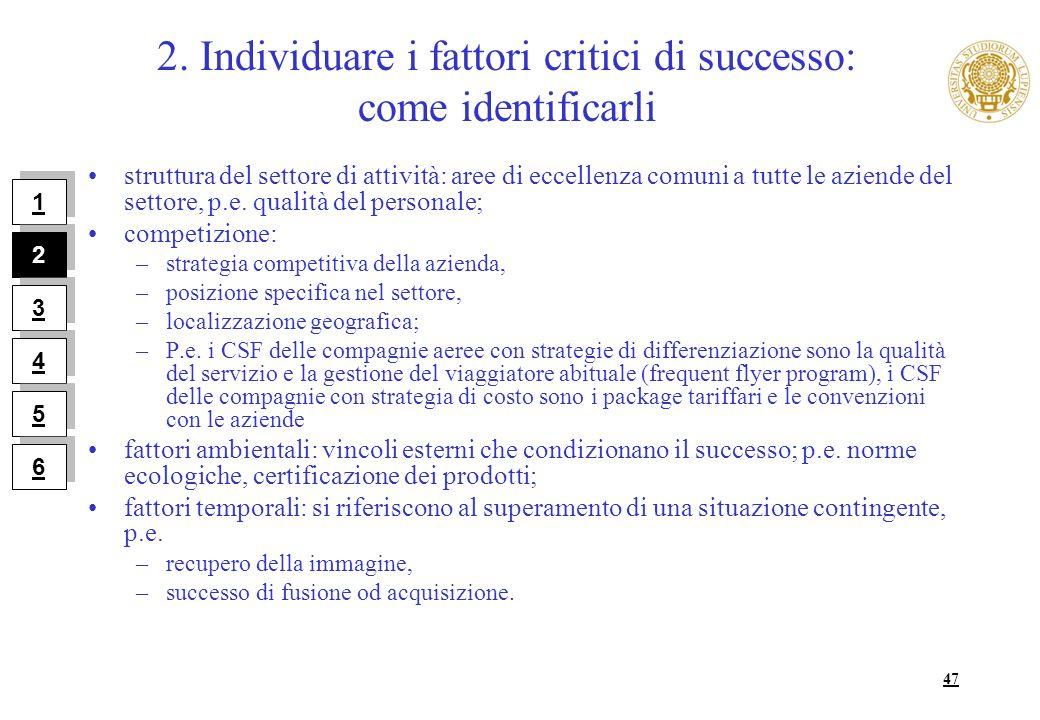 2. Individuare i fattori critici di successo: come identificarli
